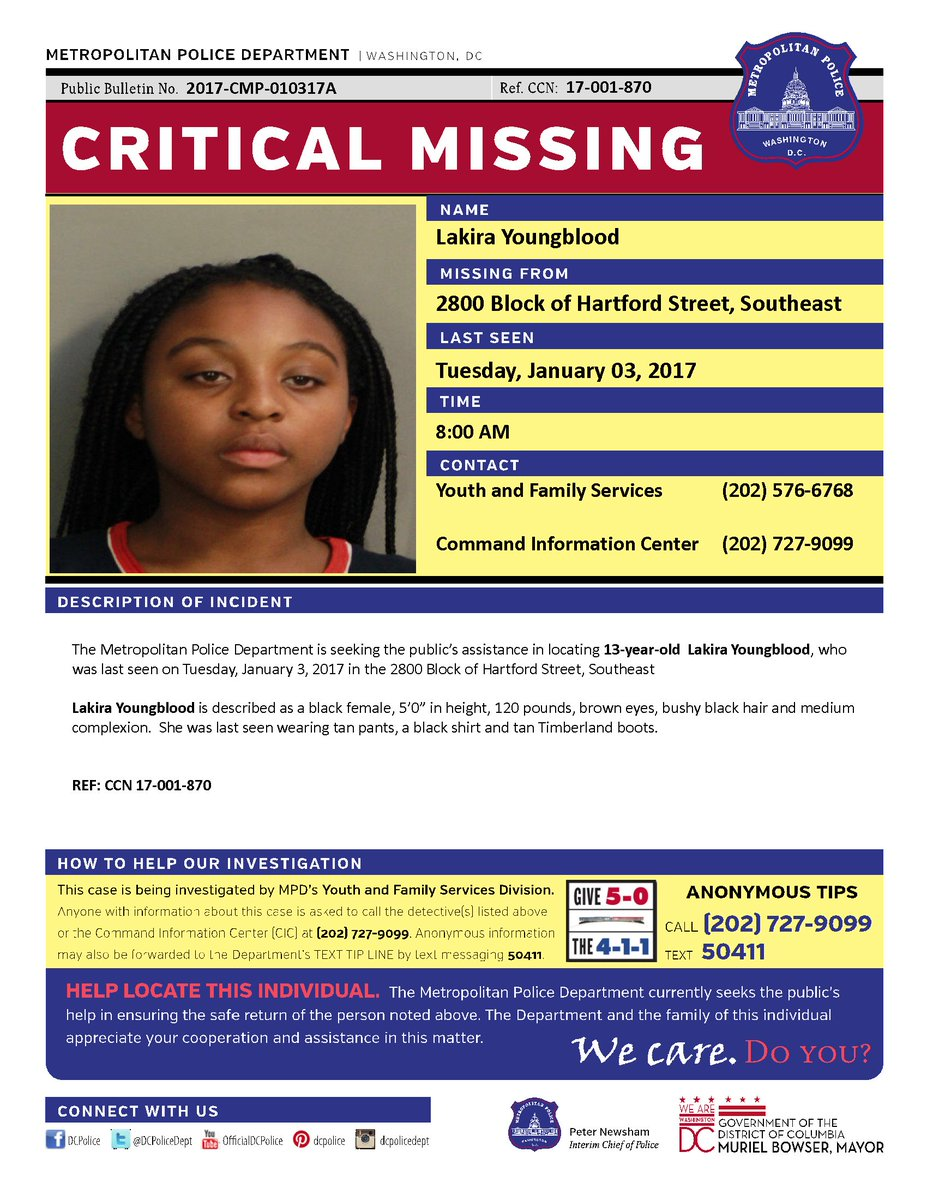 Help find missing 13 yr old Lakira Youngblood. Last seen Jan 3, 2017 at 8:00 am in 2800 block of Hartford St., SE. https://t.co/JMU1jFO1H4