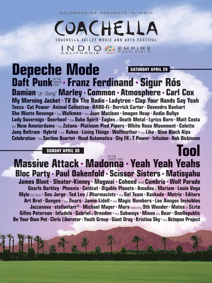 Coachella Lineup for 2006