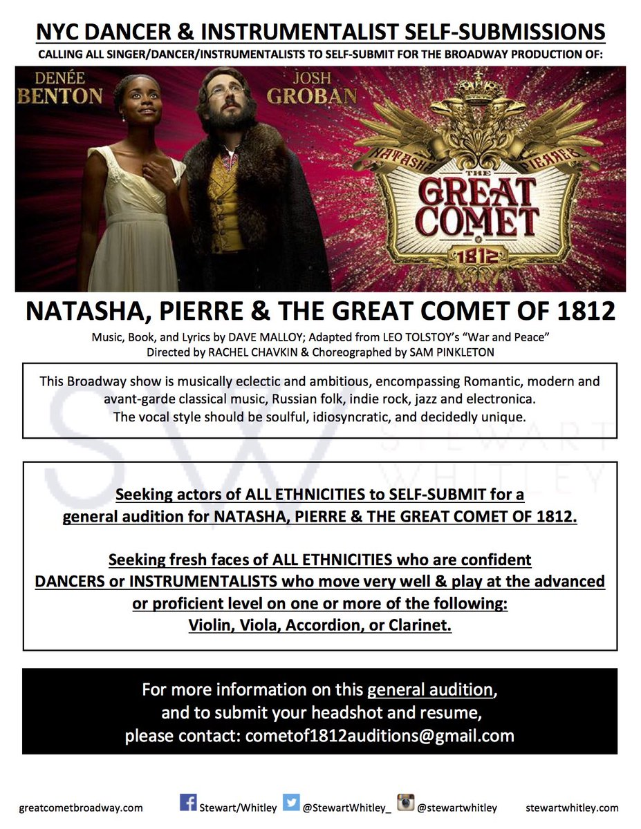 OPEN CASTING for @GreatCometBway! All ethnicities encouraged to submit. #Violin, #viola, #accordion &amp; #clarinet players sought! #opencasting<br>http://pic.twitter.com/p0zP2gJEro