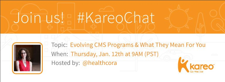 Welcome to #KareoChat w your host, @healthcora! If you haven't had a chance to view our questions: https://t.co/EnCDVxd2oO Now, who's here?! https://t.co/rTRbc14v5j