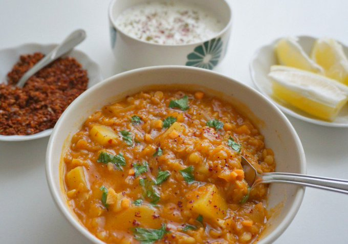 Red Lentil Soup with Yogurt and Garlic