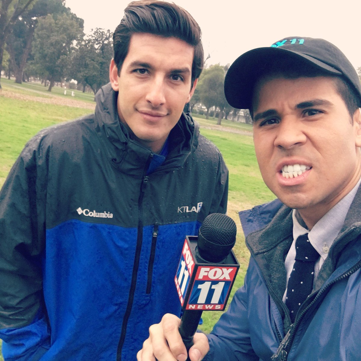 When the rain has NO affect on the competition&#39;s hair!  #LARain #reporters #competition #KTLA #FOXLA<br>http://pic.twitter.com/qJnbMO5atU