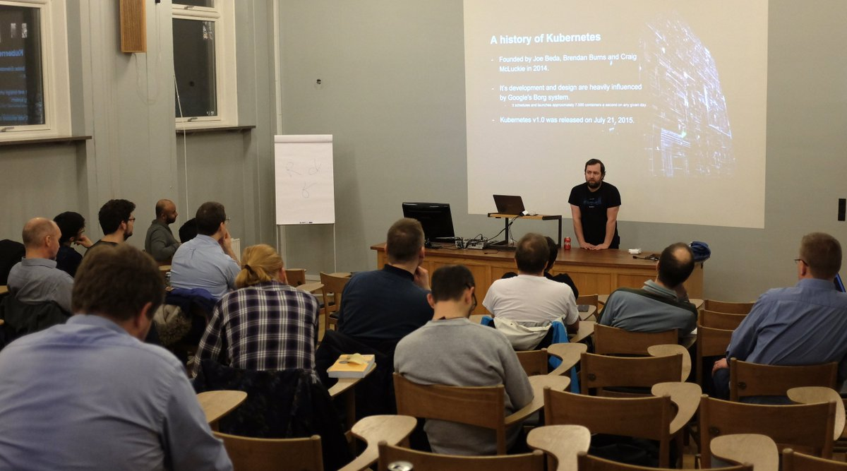 Our meet up just started. Before the demo, a bit of history on #kubernetes with Henrik!  #container #orchestration #meetup<br>http://pic.twitter.com/eUp0EWTUn1