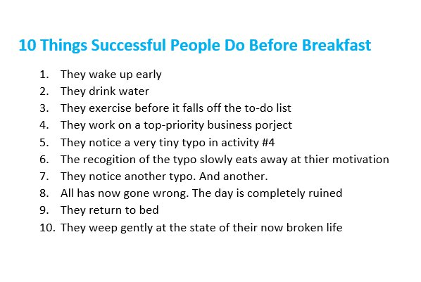 10 things successful people do before breakfast. https://t.co/Kg7HNi77iu