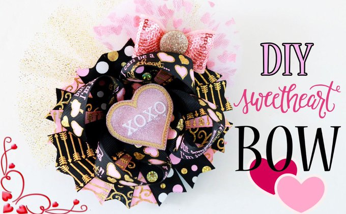 DIY Sweet heart VALENTINE'S DAY hairbow (TUTORIAL)