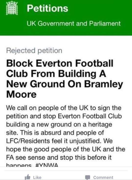 Kopite's petition rejected by government before it even got any signatures! #kopitebehaviour #bramleymoore https://t.co/j3Uqo1iIe3