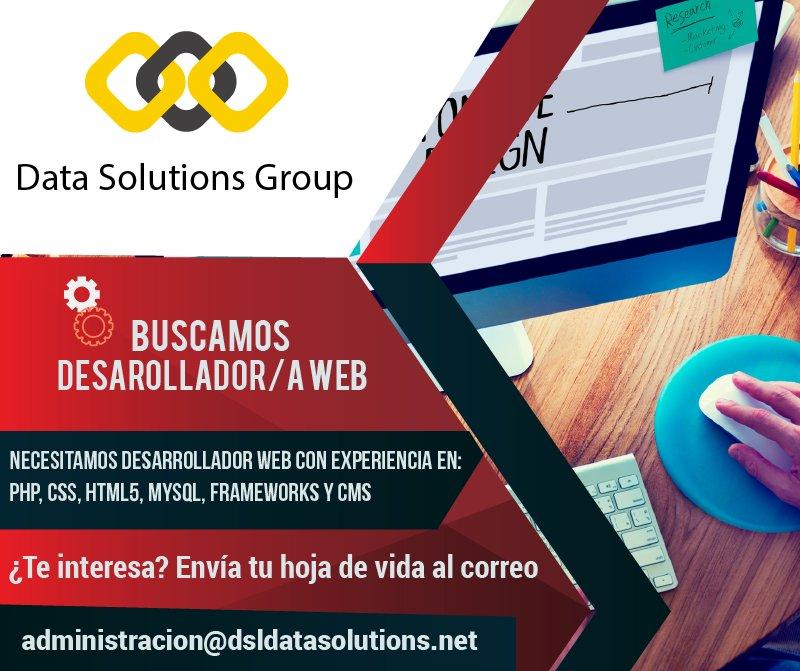 En #DataSolutions estamos buscando #Desarrolladorweb ¡Envía tu hoja de vida! Correo:administracion@dsldatasolutions.net #SiHayTrabajo <br>http://pic.twitter.com/VvtV7nkfsY
