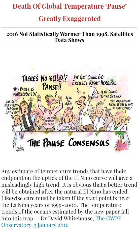 Death Of Global Temperature 'Pause' Greatly Exaggerated – 2016 Not Statistically Warmer Than 1998