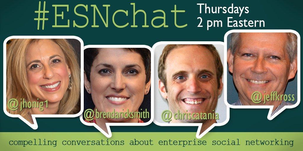 Your #ESNchat hosts are @jhonig1 @brendaricksmith @chriscatania & @JeffKRoss https://t.co/WdUIVQEtMl
