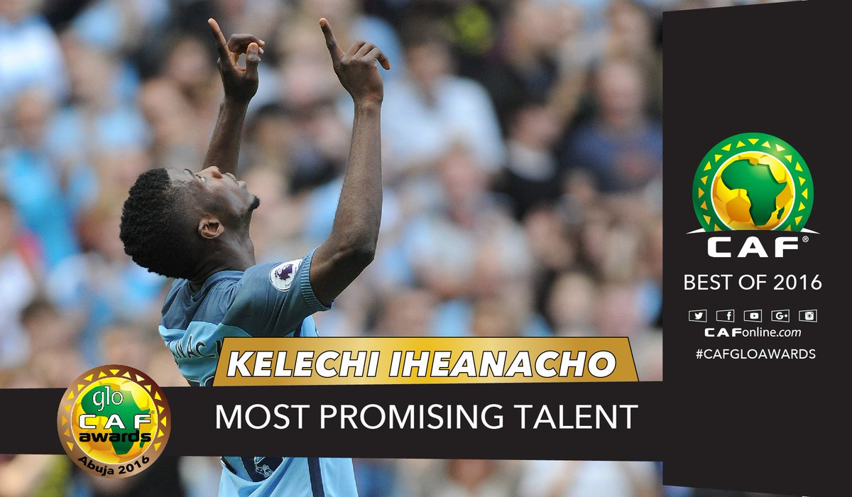 The Super Eagles native @67Kelechi is the Most Promising Talent #GloCAFAwards2016