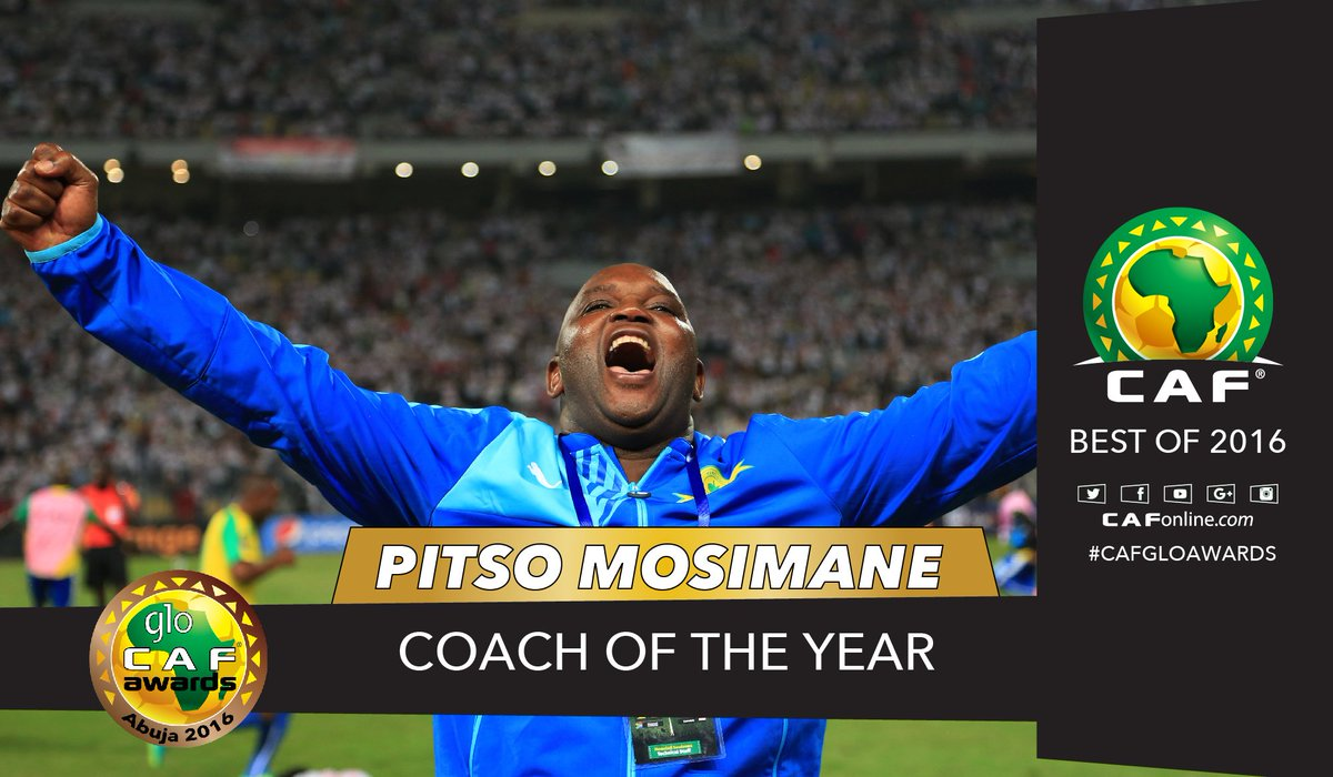 Pitso Mosimane has clinched the Coach of the Year award #GloCAFAwards2016