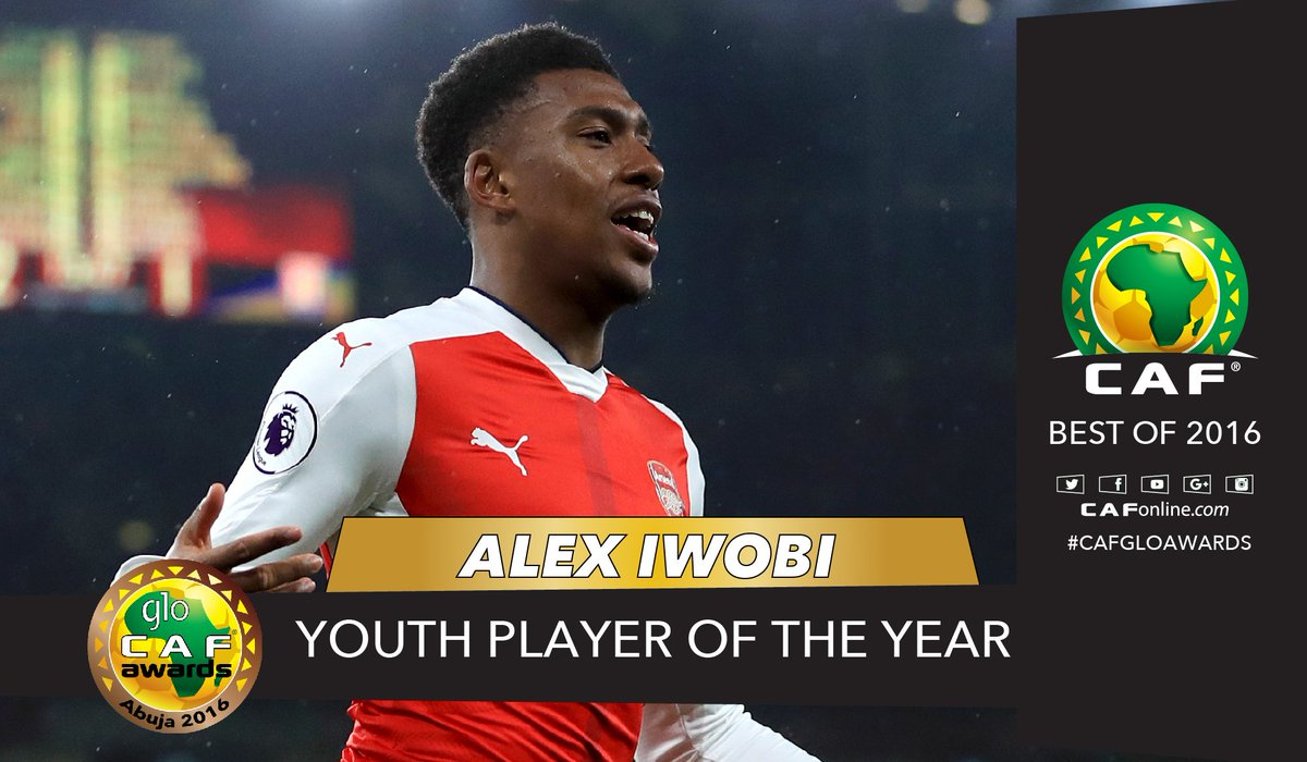 This is Alex Iwobi, #GloCAFAwards2016 Youth Player of the year winner.