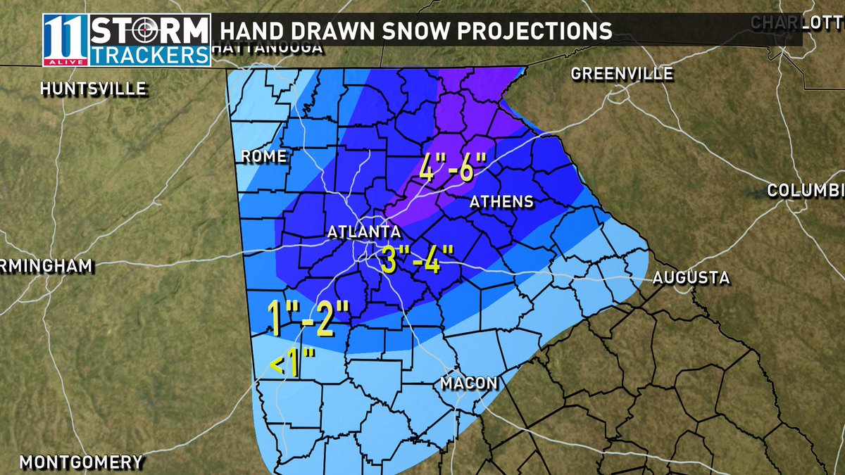 Enough with the model madness.  Here are my hand drawn snow projections from the StormTracker center.  #11Alive https://t.co/VOZny1gm8P