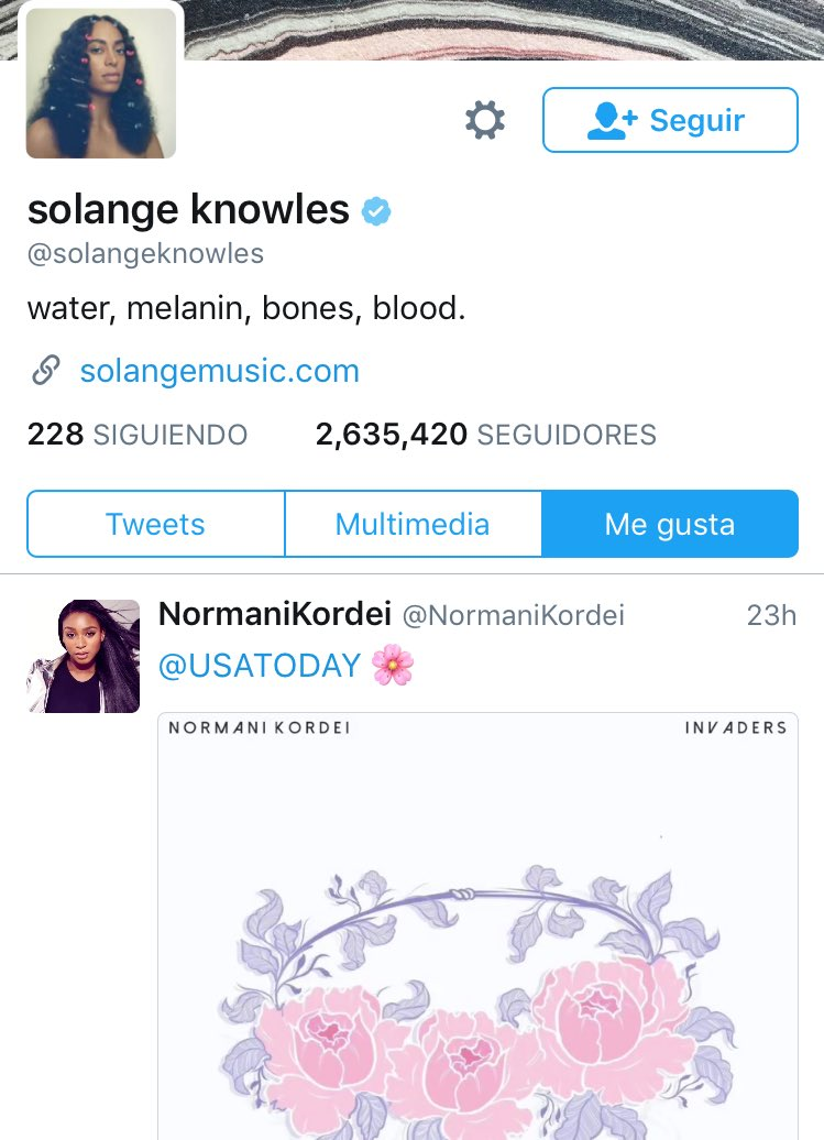 TW • Solange Knowless (@solangeknowles) le ha dado \'Me gusta\' al snippet del cover de #NormaniDTMHxCITS. (05/01)