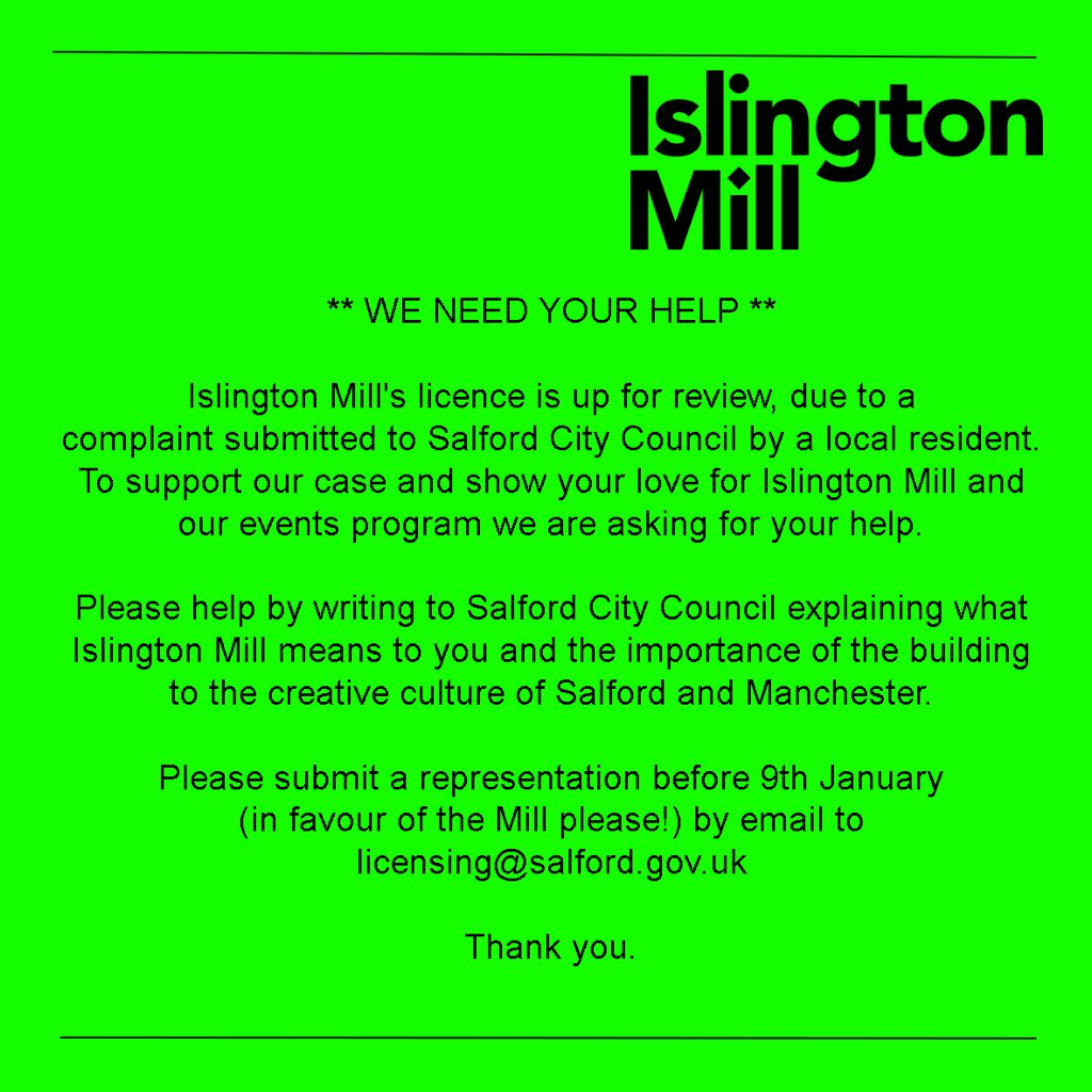 We need your help. Our license is up for review and we need you to tell Salford Council why you love the Mill. https://t.co/a7ZQe3Gy8c
