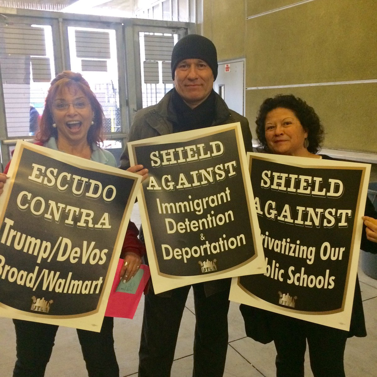 "Image result for Shield Against Immigrant Detention"" and ""Shield Against Trump/DeVos/Broad/Walmart."" T"