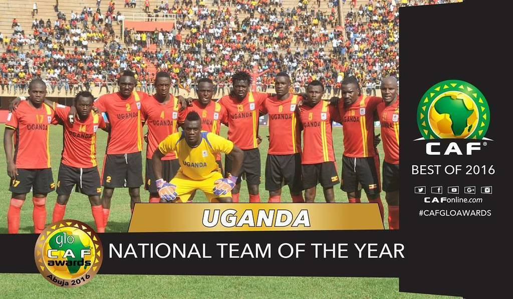 Congratulations @UgandaCranes for being named Team of the year 👊 #GloCAFAwards2016 🇺 🇬