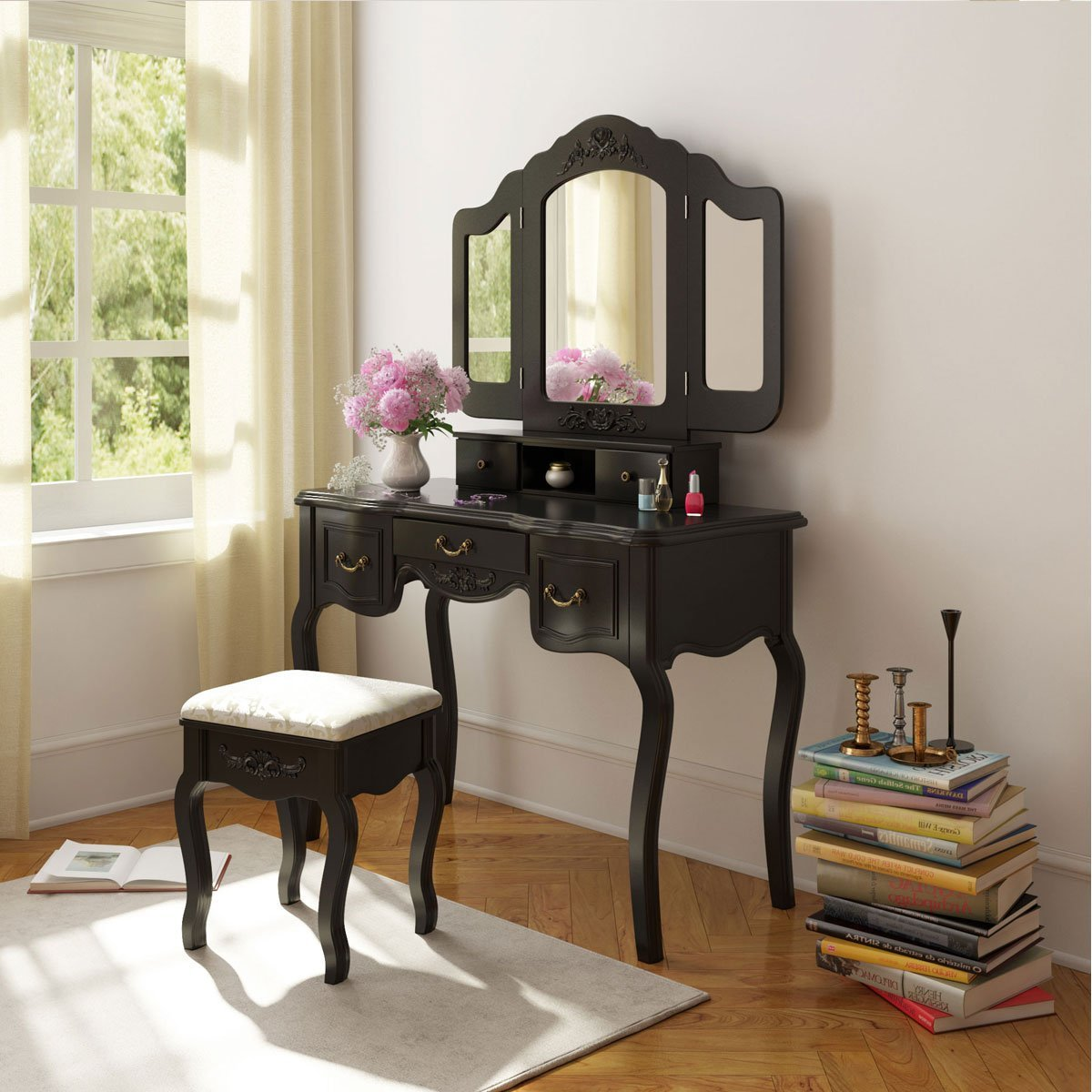 Tribesigns On Twitter Tribesigns French Vintage Black Vanity Dressing Table Set Makeup Desk With Stool Mirror Bedroom Color Black Https T Co 49gtcjieem Https T Co 4hnso2vwdg