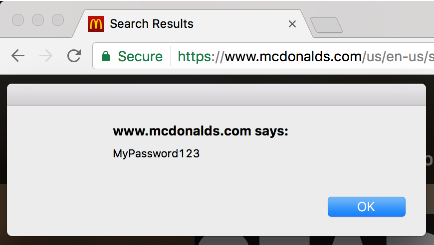 Stealing passwords from McDonald's users