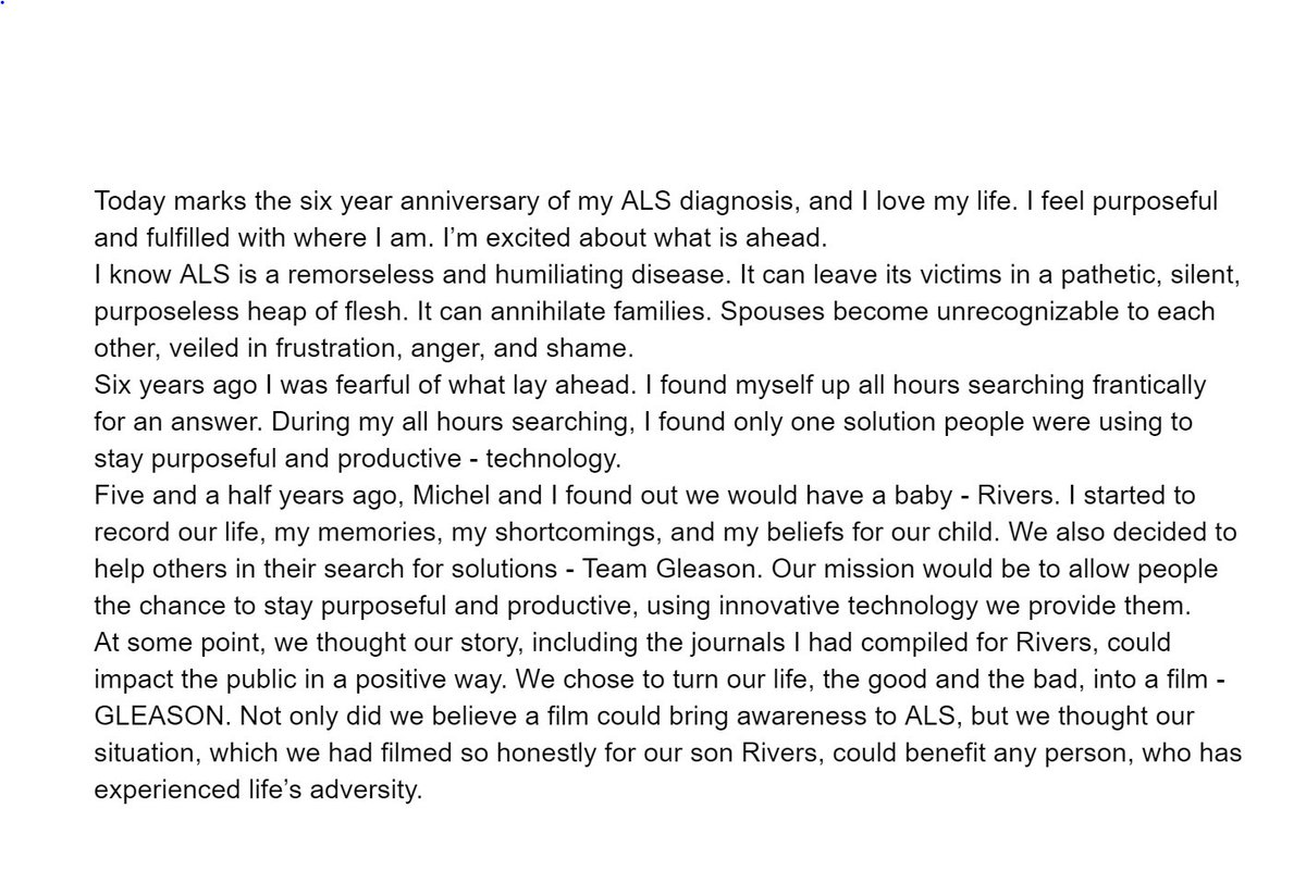 "Six years ago today, I was diagnosed with ALS. Here are my thoughts:  -SG ""... I am happy."" https://t.co/yTV6Ad9fqi"