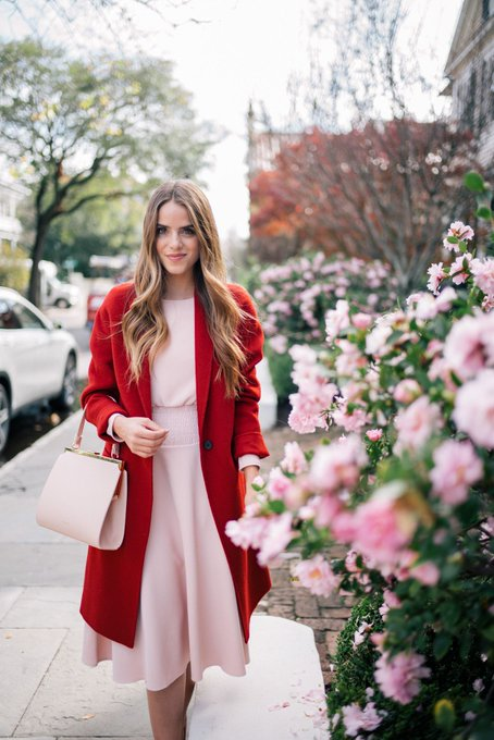 Blush Pink Dress & Red Coat