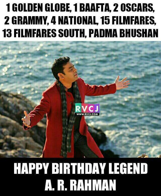 50 years Iconic musical genius Happy Birthday Legendary A.R. Rahman
