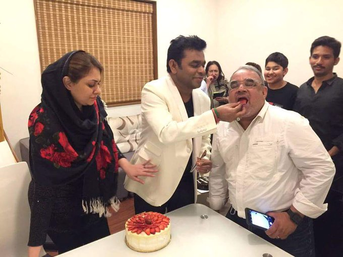 A.R. Rahman Celebrating his 50th Birthday with his wife and son A.R. Ameen  Happy Birthday