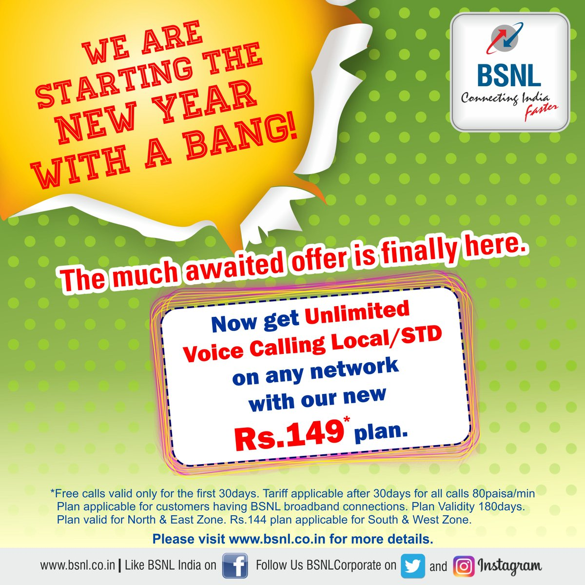 bsnl unlimited calling 144 149