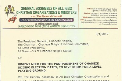 Read letter on Ohanaeze elections to South East govs by Igbo clergy group