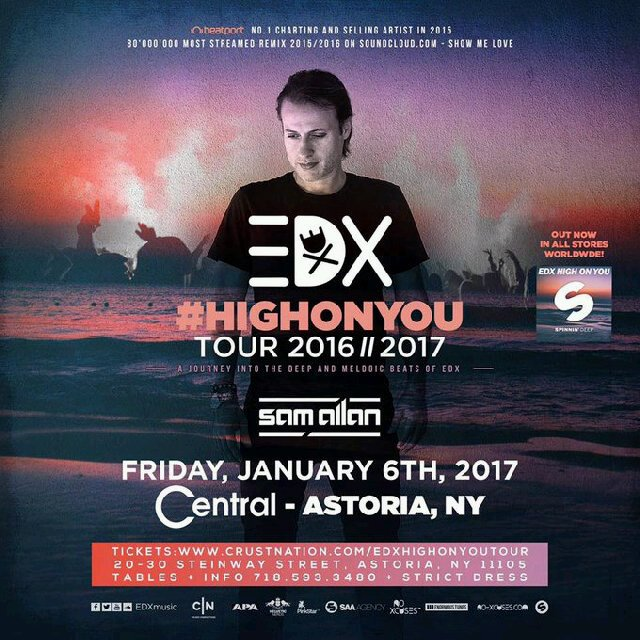 The @CrustNation presents @EDXmusic's High On You Tour at @CentralLounge Tonight! https://t.co/nuCrfpz34L
