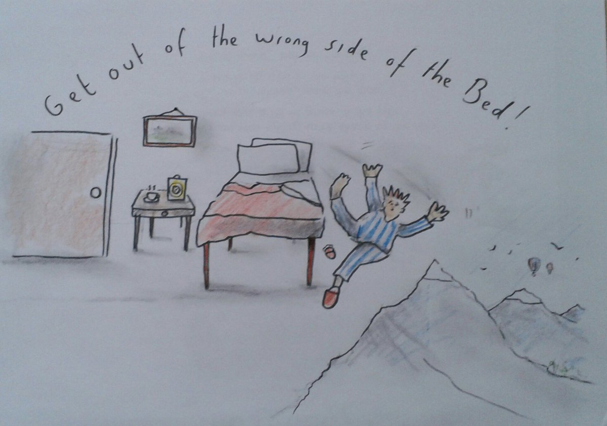 Idioms... &#39;Get out of the wrong side of the bed&#39; #art #artist #illustrator #sketch #humour #idioms <br>http://pic.twitter.com/MxCQHP1ZDh