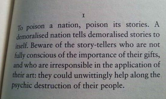 To poison a nation, poison its stories. A demoralized nation tells demoralized stories to itself ~ Ben Okri https://t.co/VJofWDtZik
