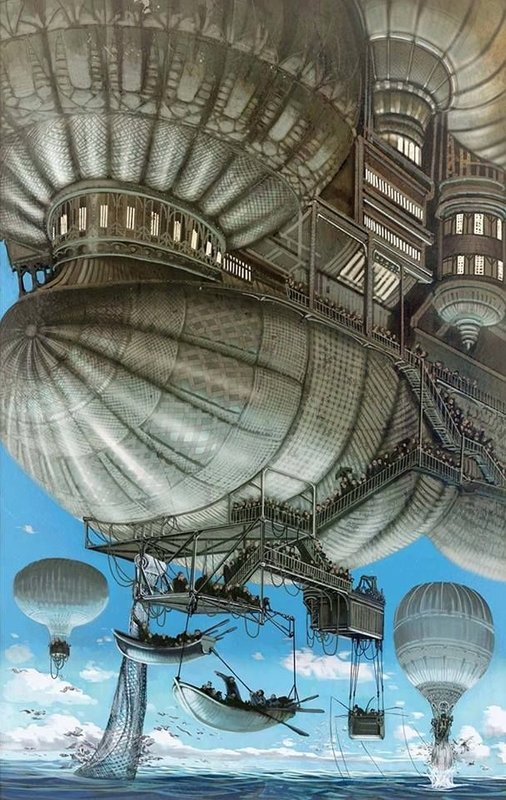 #Steampunk Awesome of the Day: 'Un an dans les airs' #Illustration by Nicolas Fructus via @steampunkjnkies #SamaArt
