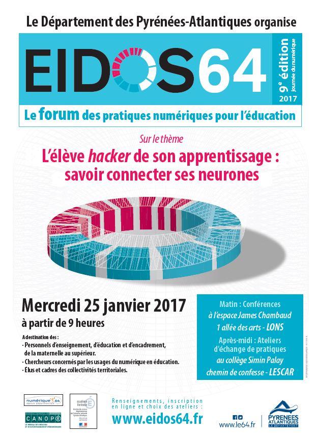 #Eidos64 9ème édition Forum des pratiques du num ds l'éduc, organisé par Dpt 64 le 25/01 à Lons. Inscriptions https://t.co/8yubcqrRmE  #le64 https://t.co/RQmSCZ4RMv
