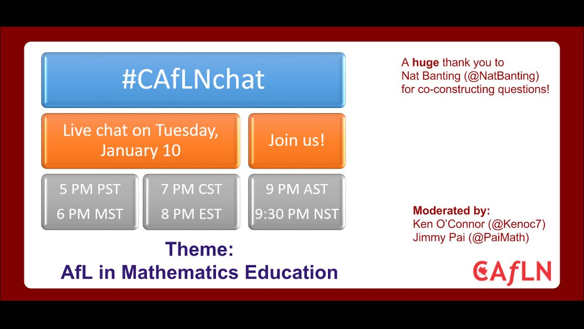 Looking forward to for conversations next Tuesday during #caflnchat about Assessment for Learning in math.  Don't miss it! #cdnmathed #mtbos https://t.co/3RdEo3ydwL
