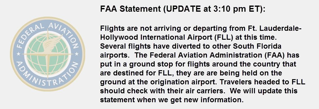 ✈️ TRAFFIC ALERT: Updated FAA statement on @FLLFlyer status: https://t.co/FnpfqNb4NK