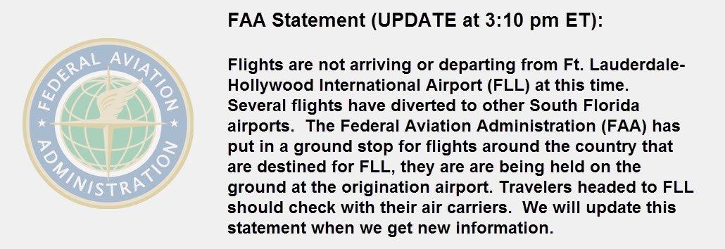 ✈️ TRAFFIC ALERT: Updated FAA statement on @FLLFlyer status:
