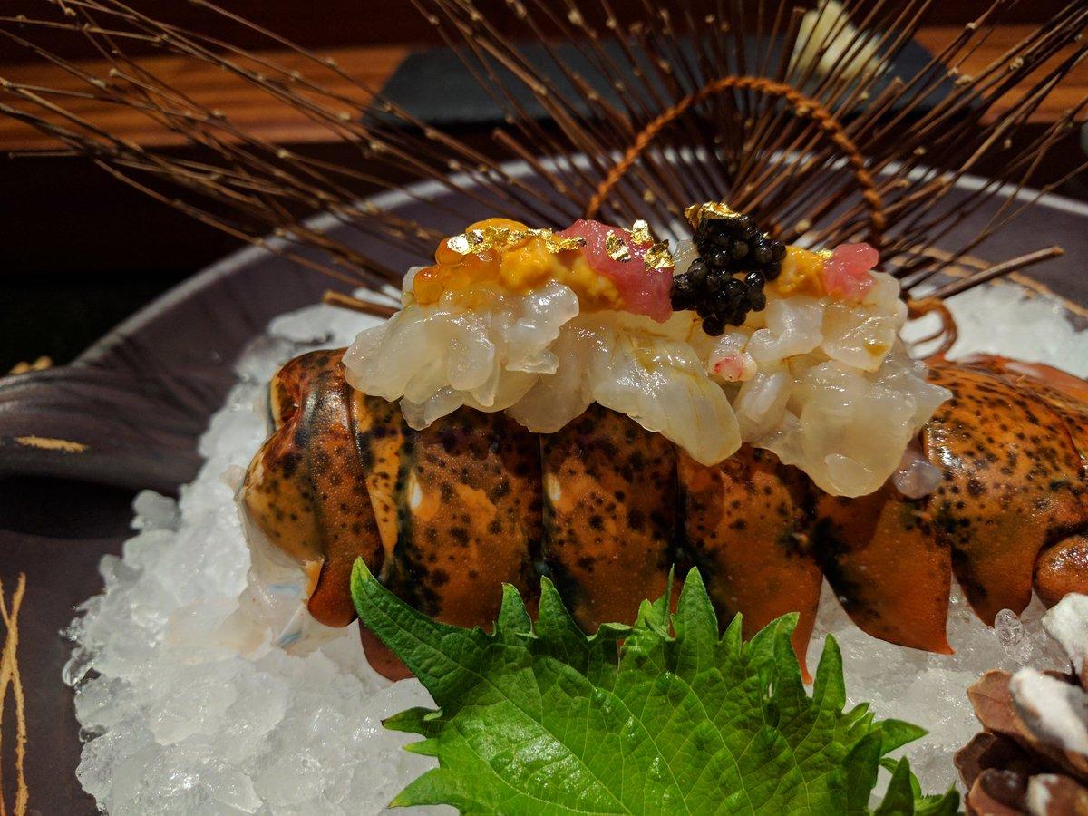Live Lobster with sea urchin, caviar, kamashita toro, 23 karat gold flake at Kame Omakase, Las Vegas
