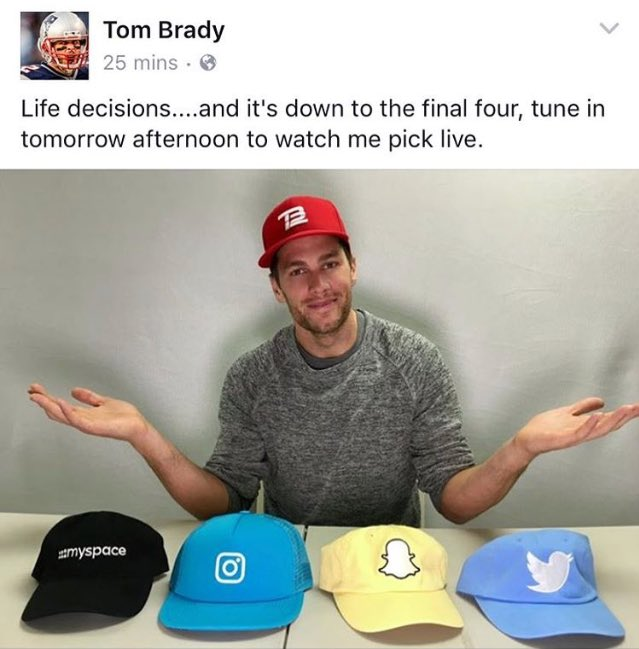 Image result for tom brady social media choose