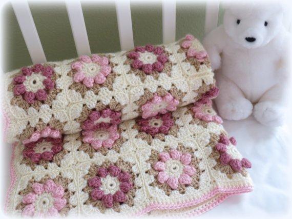 Crochet Baby Blanket Pattern, Baby Blanket Pattern, Flower Baby Blanket, Crib Blanket, CROCHET PATTERN