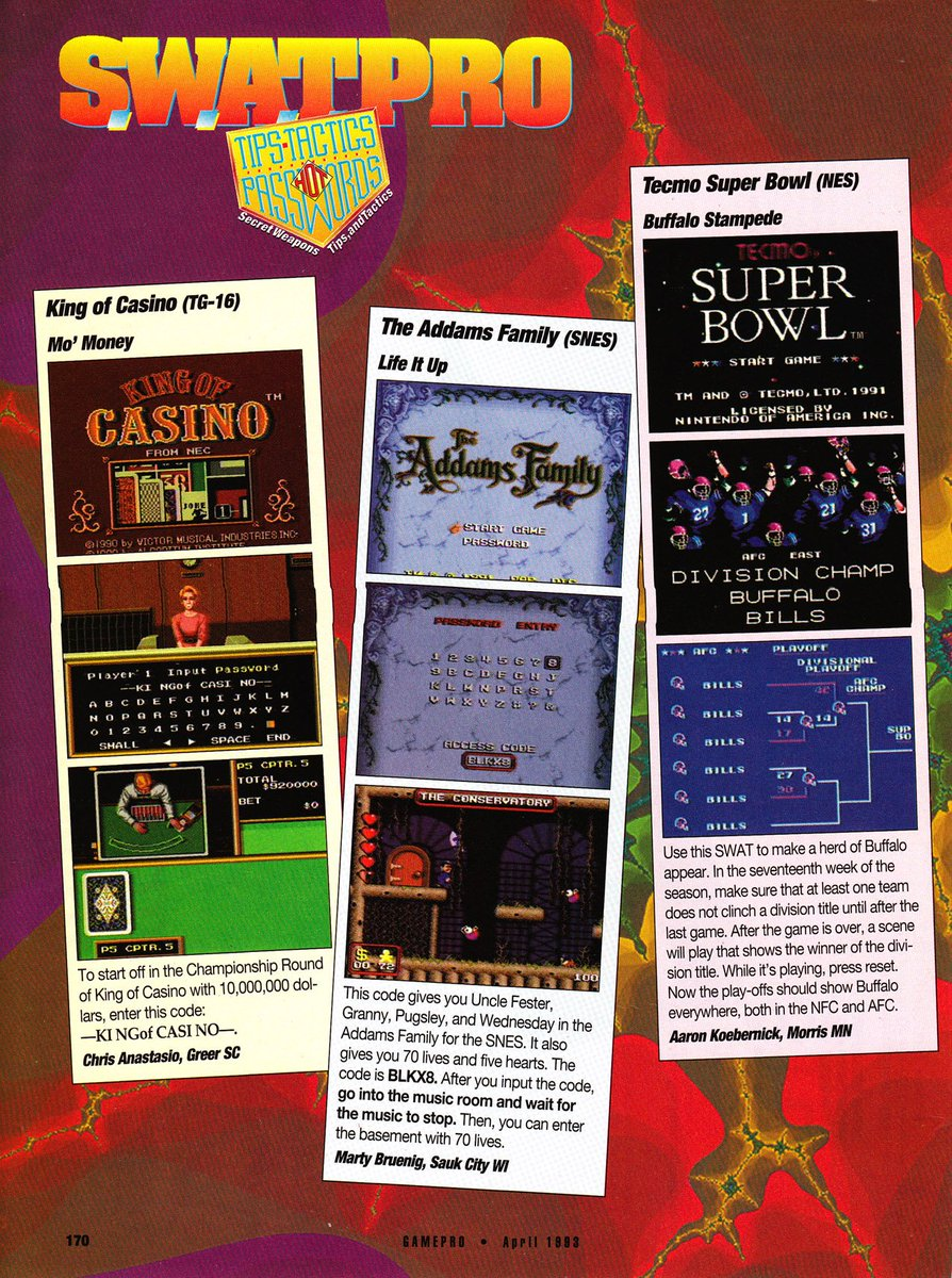 GamePro April 1993 Buffalo Bills Glitch