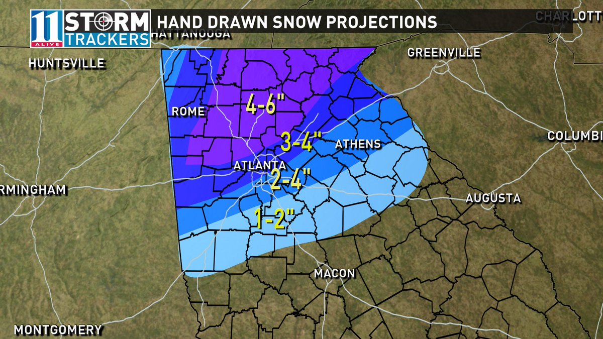 Updated snow projections based on where we think heaviest bands will dump more snow. #11Alive