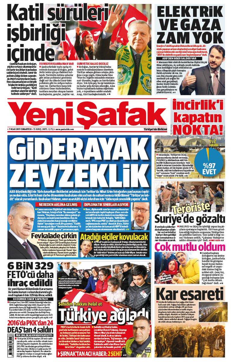 #YeniŞafakManşet Gazetemizin 07.01.2017 tarihli birinci sayfası: GİDER...