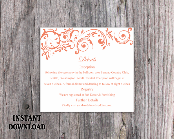 DIY Wedding Details Card Template Editable Word File Instant Download Printable Details Card Red Orange Details Card Elegant Enclosure Cards