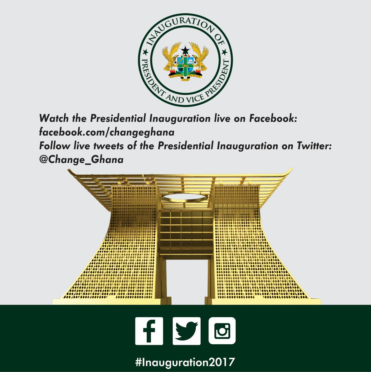 Follow live tweets of the Presidential Inauguration on Twitter: @Change_Ghana using the hashtag #Inauguration2017 https://t.co/WCK7CzDAPm