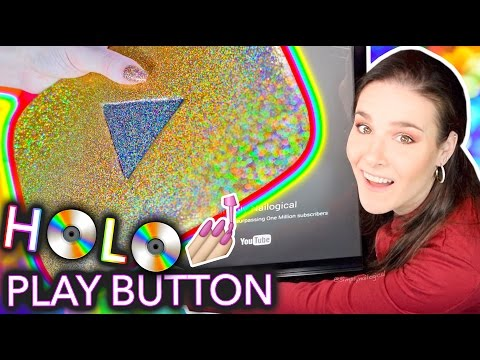 Painting my YouTube Play Button with HOLO NAIL POLISH #diy #tutorial #beauty #makeup