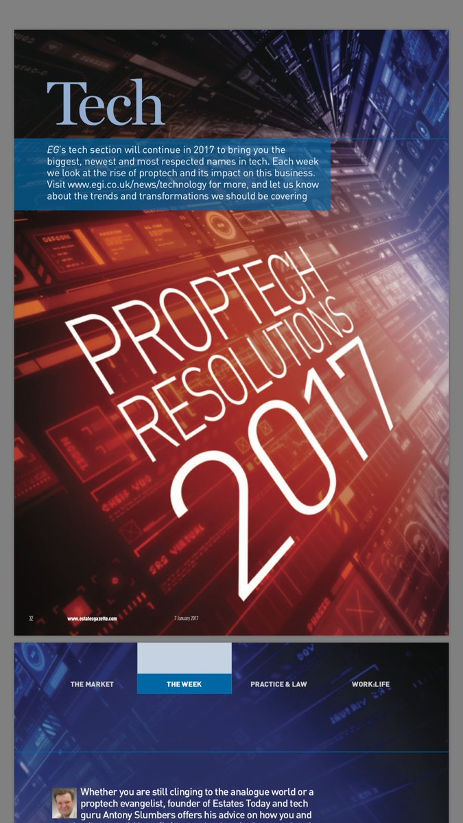 RT @antonyslumbers Property & #PropTech people; hope you're reading your @EstatesGazette - We all need resolutions!