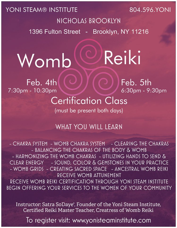 Yoni Steam Institute On Twitter Womb Reiki Certification With