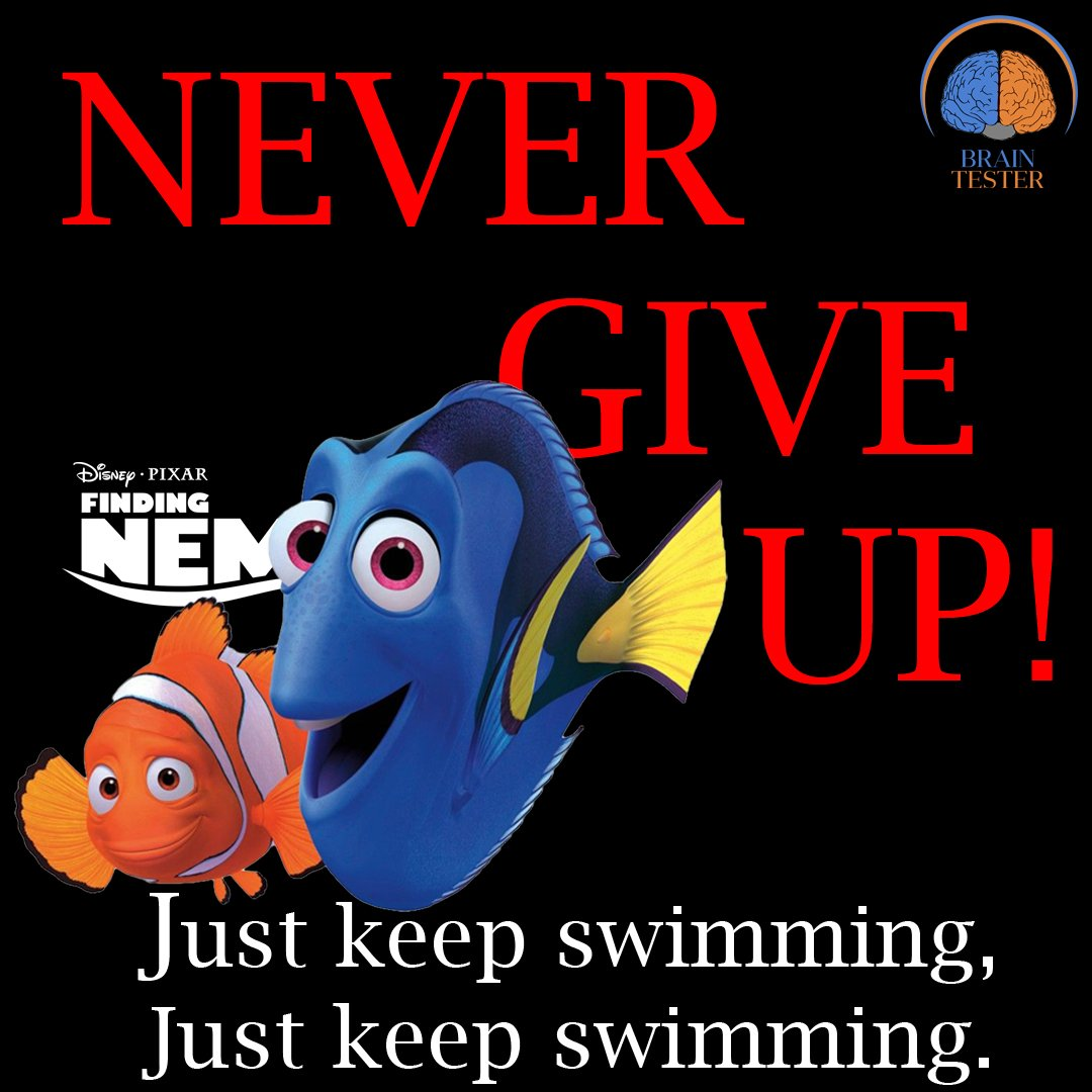 """Brain Tester on Twitter: """"NEVER GIVE UP! #never #nemo # ..."""