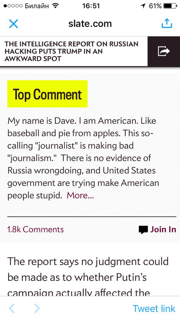 When the top comment on a @Slate article about #ICreport is an apparent #Russian troll who isn't even a good one.